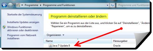 Java Deinstallation über die Systemsteuerung