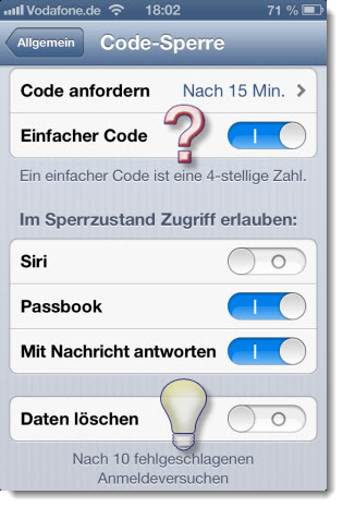 Codesperre bei iPhone und iPad
