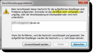 Outlook-Zertifikat-Fehler: Kein öffentlicher Schlüssel!