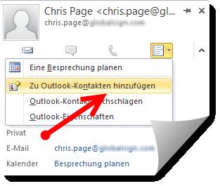Neuen Outlook-Kontakt mit öffentlichem Schlüssel erstellen