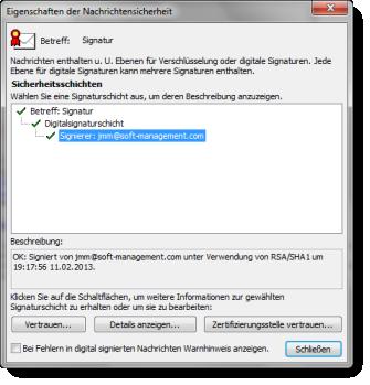 Das Outlook-Zertifikat: Eigenschaften des öffentlichen Schlüssels