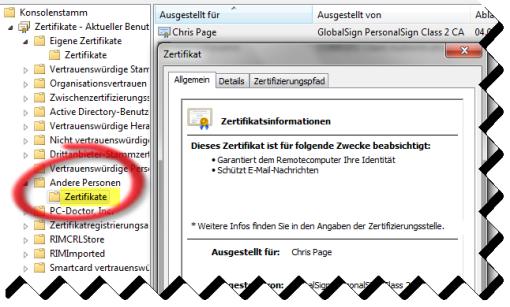 Outlook-Zertifikate: Verwaltung mit der Management-Konsole (MMC)