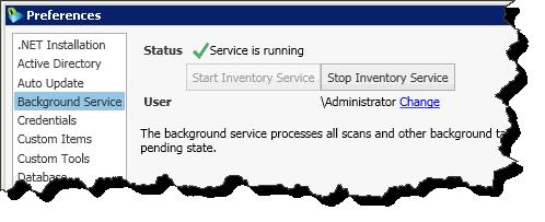 Inventarisierung mittels Dienst
