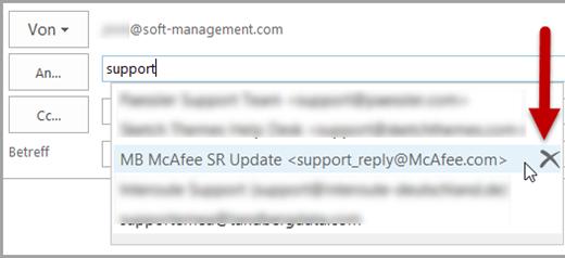Outlook: Auto-Complete-Eintrag löschen