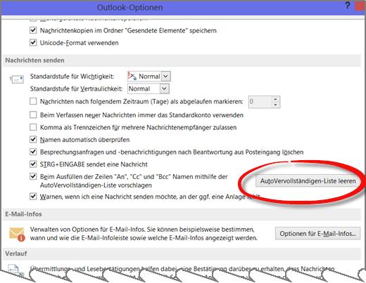Outlook: Auto-Vervollständigung einschalten und löschen