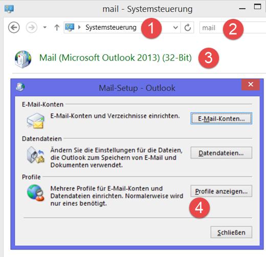 Systemsteuerung: Das Outlook-Profil verwalten