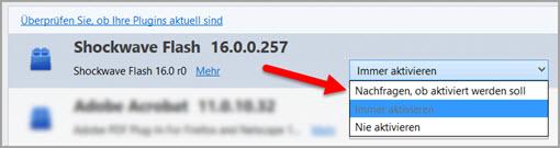 Firefox Plugin Aktivierung