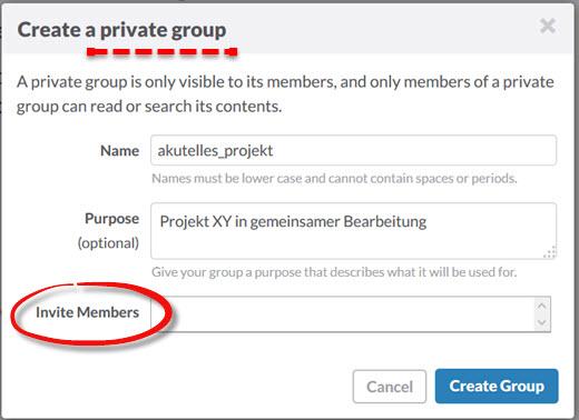 Slack: Geschlossene Gruppen