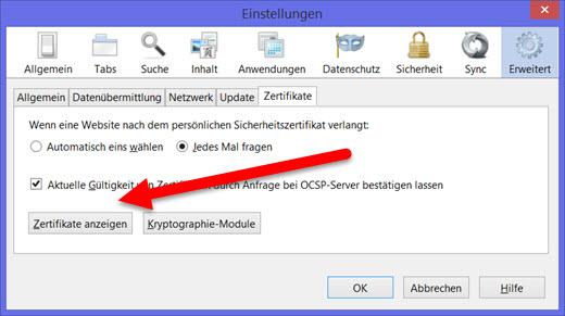 Zertifikate in Firefox