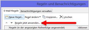 Outlook: Regel manuell ausführen