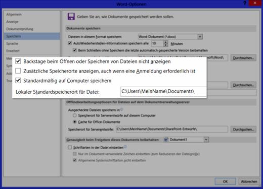 Office 2013: Speichern Optionen