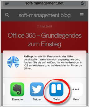 Trello: iPhone-Inhalte senden