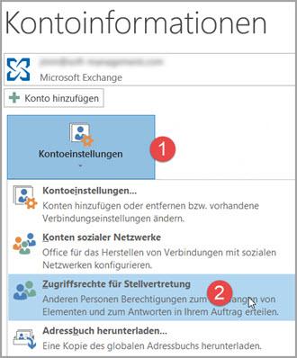 Outlook-Konto: Stellvertretung