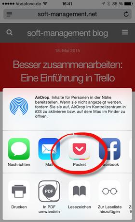 Pocket: Sammeln am iPhone