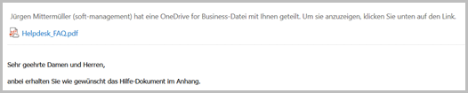 Der E-Mail-Anhang beim Empfänger