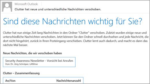 Clutter: Statusbenachrichtigung im Postfach