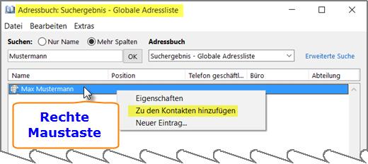 Outlook und die GAL-Kontakte