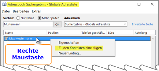 globales adressbuch
