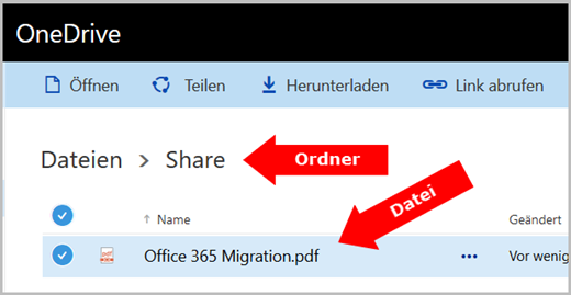 Dateiauswahl OneDrive