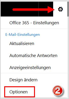 Aufruf der E-Mail-Optionen