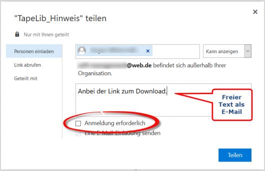 Die Dateifreigabe im Browser
