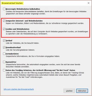IE: Browserverlauf löschen