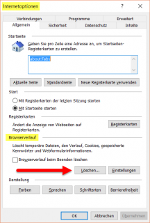Internet Explorer: Internetoptionen