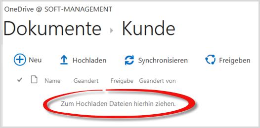 Der OneDrive-Ordner im Webinterface