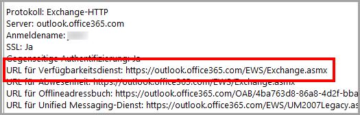 Die Exchange Web-Services URL