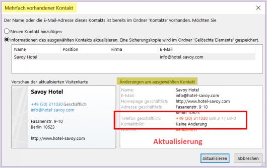 Kontakt-Aktualisierung in Outlook