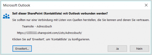 Outlook-Kontakte mit SharePoint verbinden