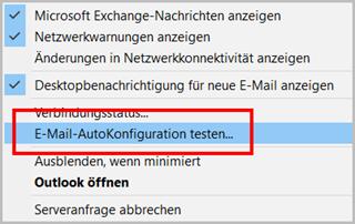 Outlook E-Mail-Konfiguration testen