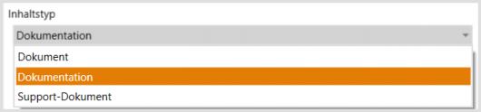 Auswahl des SharePoint-Inhaltstyps