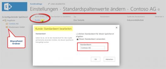 Der Standardwert im SharePoint-Ordner