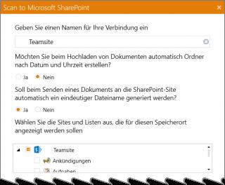 Die Scanner-SharePoint-Verbindung