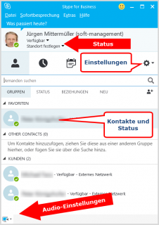 Das Skype for Business-Hauptfenster