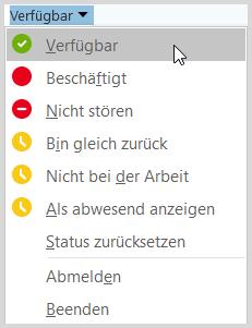 Verfügbarkeit und Status in Skype