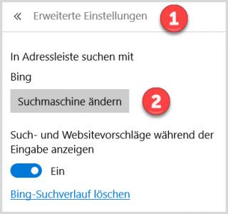 Microsoft Edge: Suchmaschine ändern