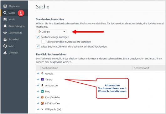 Suchmaschine In Firefox einstellen
