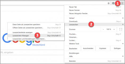 Das Chrome-Menü für den Export