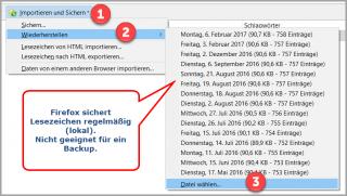 Firefox: Lesezeichen wiederherstellen