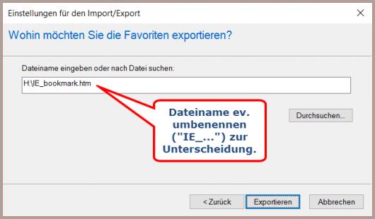 IE: Dateiname für Lesezeichen-Export