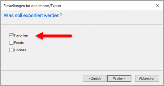 IE: Export der Favoriten