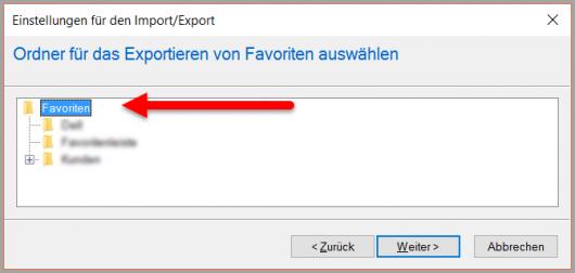 IE: Export aller Lesezeichen