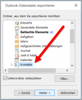 Der Outlook-Export-Filter