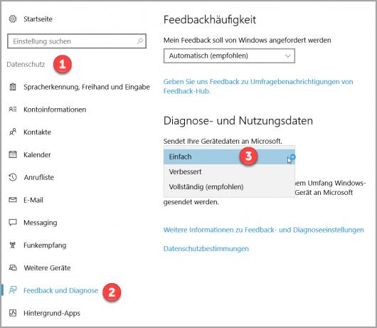 Windows 10 Nutzungsdaten konfigurieren