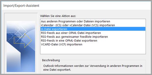Outlook: In Datei exportieren