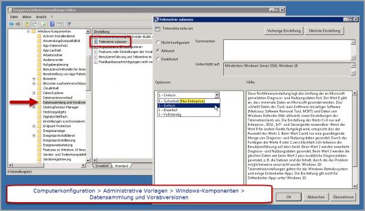 Windows 10 Telemetrie über Gruppenrichtlinie definieren