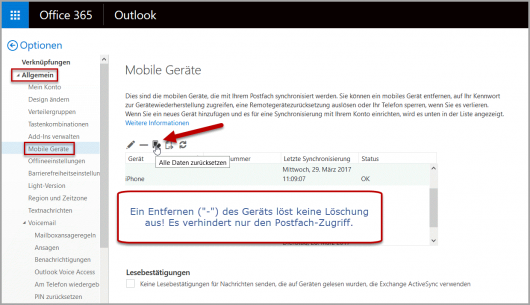 Outlook Web: Löschen des iPhone