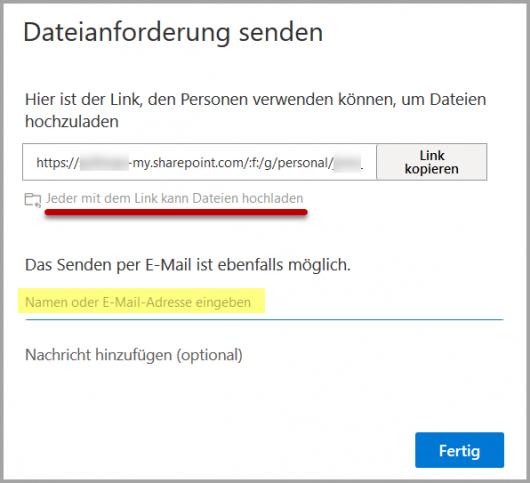 Dateianforderung senden